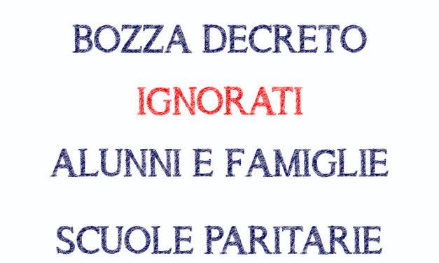 Bozza Decreto ignorati alunni e famiglie Scuole paritarie